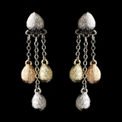 Silver w/ Two Gold Tones Earrings 7958