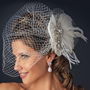 * Vintage Couture Feather Bridal Headpiece with Bird Cage Veil Clip in White or Ivory 476