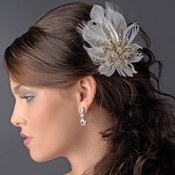 Glamorous Gold Bridal Hair Clip with Brooch Pin and Clear Rhinestones & Ivory Feathers 456