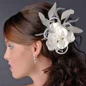 Swarovski & Ivory Pearl Flower Bridal Hair Clip - Clip 424 Ivory with Brooch Pin