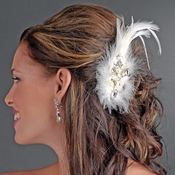Extraordinary White or Ivory Feather & Clear Rhinestone Bridal Hair Clip 5282