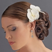 Natural Looking Twin Orchid Bridal Flower Hair Clip - Clip 405