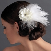 Flower Feather Fascinator Bridal Hair Clip 421 with Brooch Pin