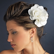 Ivory Couplet Gardenia Flower Hair Clip 446