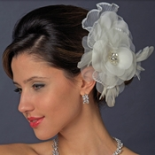 Floral Rhinestone Bridal Feather Fascinator Hair Clip 475