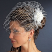 Elegant Feather Flower Fascinator with Cage Veil Clip 7795 Ivory
