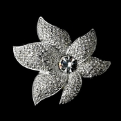 Sparkling Antique Silver Rhinestone or Diamond White Starfish Orchid Brooch 67