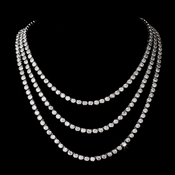 Stunning Three Strands Cubic Zirconia Necklace N 5066 Silver Claer