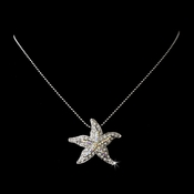 Aurora Borealis Encrusted Starfish Necklace Pendant in Silver Plating 8502