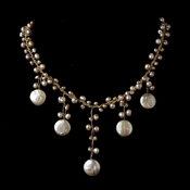 Peach Coin Pearl Drop Silk Necklace 7833