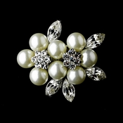 Antique Silver Diamond White Pearl and Rhinestone Brooch 118