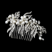 Lovely Silver Bridal Comb w/ White Pearls & Clear Rhinestones 8988