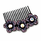 * Adorable Black Flower Comb w/ Purple Rhinestones & Aurora Borealis Crystals 6729