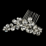 Silver Clear Cluster Rhinestone Hair Comb 7909