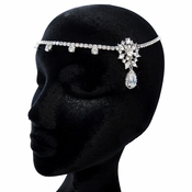 "Antique Silver Clear CZ Crystal ""Kim Kardashian"" Inspired Floral Headband Headpiece 1862"