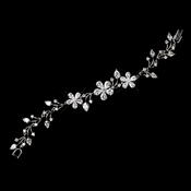 Antique Silver Rhodium Clear Floral Crystal CZ Bracelet 1406