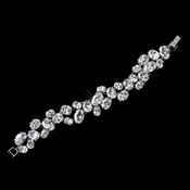 Antique Silver Rhodium Clear CZ Crystal Bracelet 1407