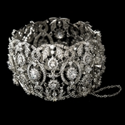 Antique Silver Rhodium Clear CZ Crystal Bracelet 1410