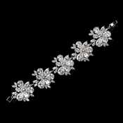 Antique Silver Rhodium Clear CZ Crystal Bracelet 1411