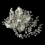 Antique Silver Clear Rhinestone Flower Hair Clip 4402
