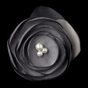 Ivory Gray Flower with Faux Pearl Accents & Brooch Pin Hair Clip 9940