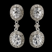 Antique Silver Clear Oval CZ Crystal Drop Earrings 5996