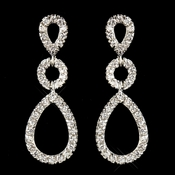 Antique Silver Clear Triple Teardrop Pave CZ Crystal Drop Earrings 1298