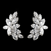 Antique Silver Rhodium Clear Cluster CZ Crystal Earrings 1420