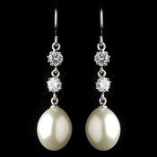 Antique Silver Rhodium Freshwater Pearl & CZ Crystal Drop Earrings 1430