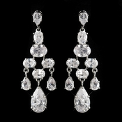 Antique Silver Rhodium Silver Clear CZ Crystal Chandelier Earrings 2282