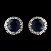 Antique Silver Rhodium Sapphire CZ Crystal Stud Earrings 5601