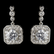 Antique Silver Rhodium Clear Round CZ Crystal Drop Earrings 7845