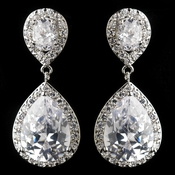 Antique Silver Clear CZ Crystal Tear Drop Earrings 7850