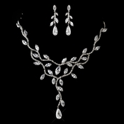 Antique Silver Clear CZ Crystal Necklace & Earrings Jewelry Set 1312