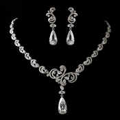 Antique Silver Clear CZ Crystal Necklace & Earrings Jewelry Set 1313