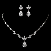 Antique Silver Rhodium Clear CZ Crystal Necklace & Earrings Jewelry Set 1319