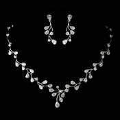 Antique Silver Rhodium Clear CZ Crystal Necklace & Earrings Jewelry Set 1324