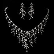 Antique Silver Rhodium Clear CZ Crystal Necklace & Earrings Jewelry Set 1400