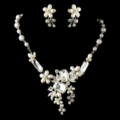 Silver Freshwater & Multi Shaped Rhinestone Floral Necklace & Earrings Jewelry Set 8156