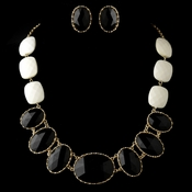 Gold Black Faceted Bead Tribal Fashion Necklace & Earrings Jewelry Set 8160