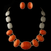Gold Orange Faceted Bead Tribal Fashion Necklace & Earrings Jewelry Set 8160