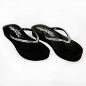 * Sunshine ~ Low Heel Black Wedge Flip Flops with Crystal Straps *Slightly Defective*