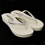 * Sunshine ~ Low Heel Ivory Wedge Flip Flops with Crystal Straps *Slightly Defective*