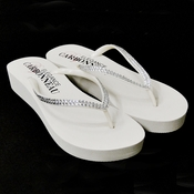 * Sunshine ~ Low Heel White Wedge Flip Flops with Crystal Straps *Slightly Defective*