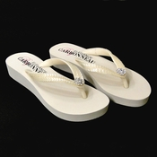 Summer ~ Low Heel Ivory Wedge Flip Flops with Sequins & Swarovski Crystals