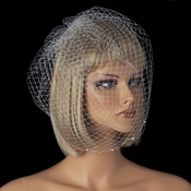 Single Layer Russian Birdcage Face Veil Attached To Comb with Pearls Accents V Cage 706