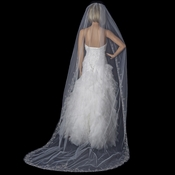 Single Layer Cathedral Length Bridal Veil with Beaded Embroidery Edge 1568