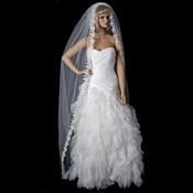 Single Layer Cathedral Length Bridal Veil with Scalloping Edge of Embroidery 591