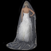 Single Layer Floral Embroidery Cathedral Length Ivory Rum Veil with Satin Ribbon Edge 882