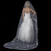 Single Layer Floral Embroidery Cathedral Length White Veil with Satin Ribbon Edge 882